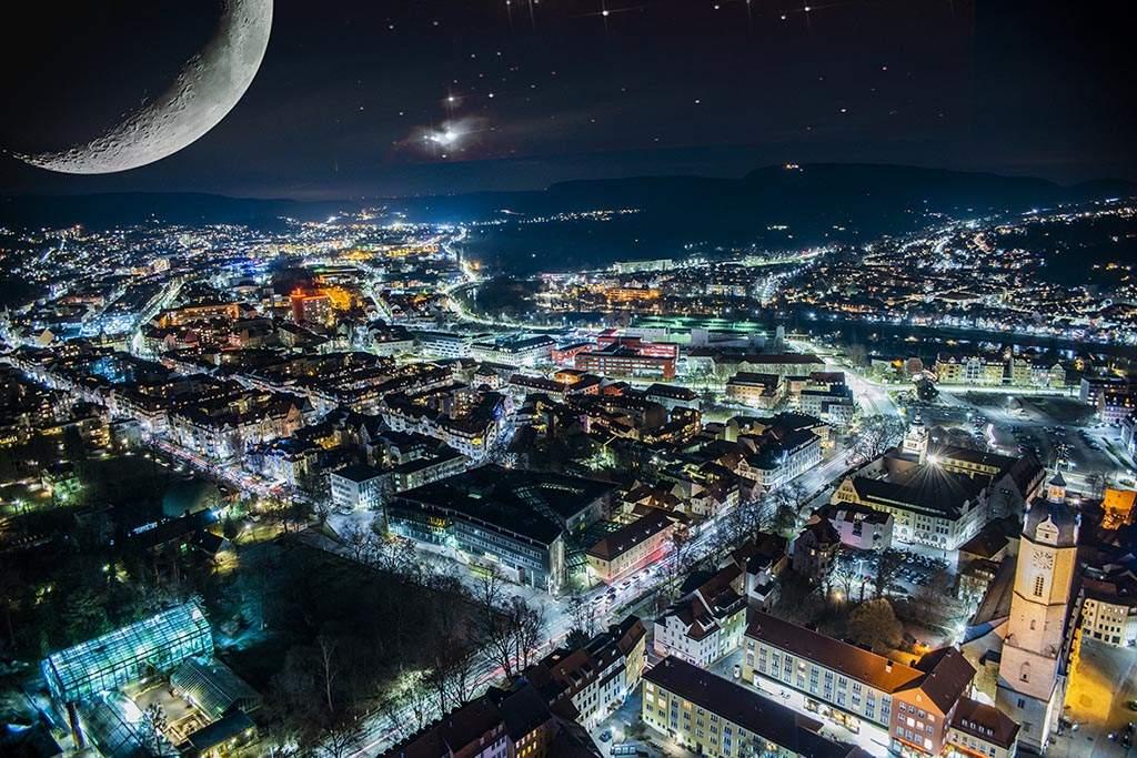 Fotografie Nachtpanorama von Jena im Juni