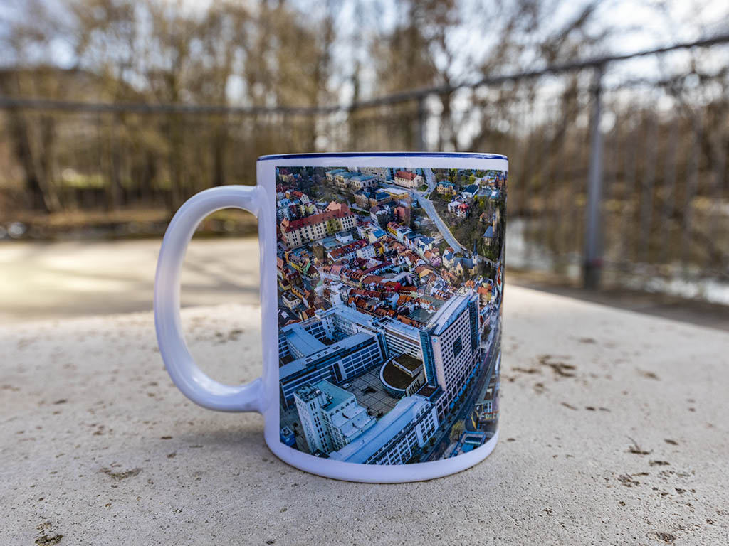 City Tasse Jenastyle Kaffeegenuss aus der Vogelperspektive