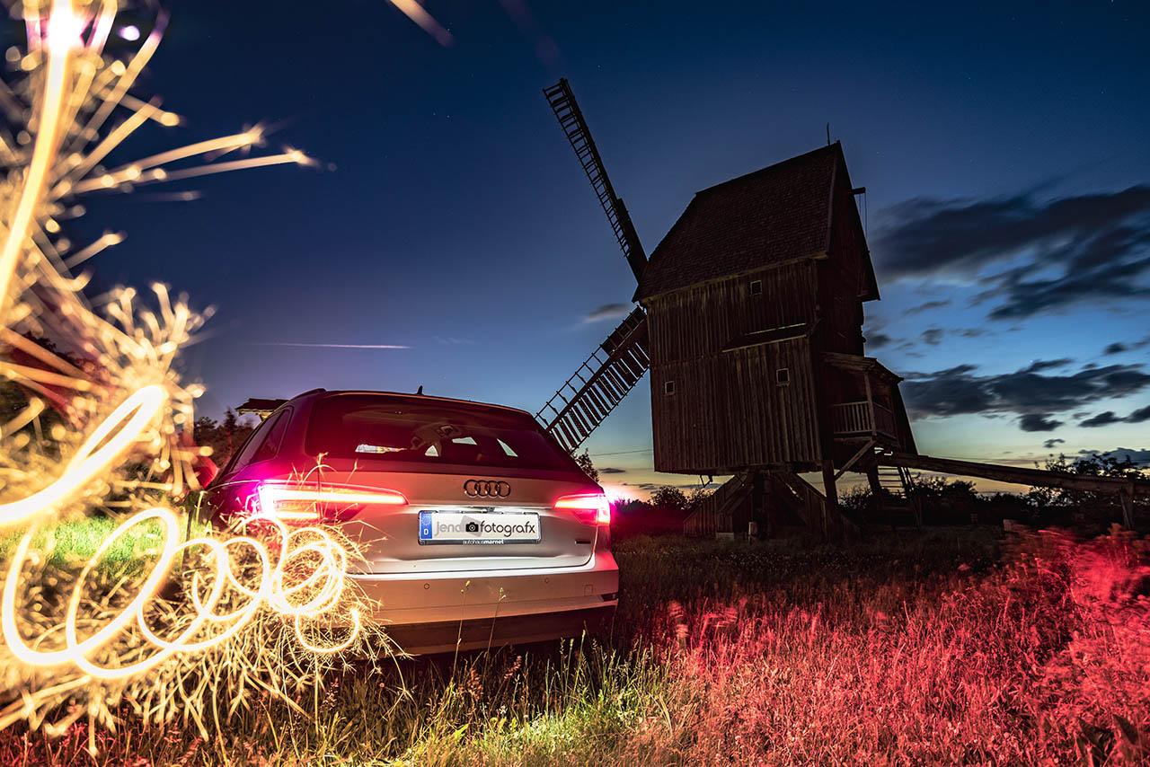 Nachtfotografie und Lichtmalerei Bockwindmühle