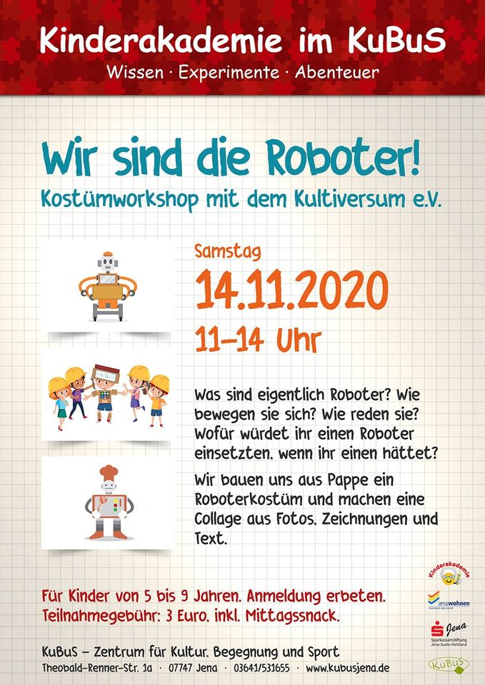 [Abgesagt!] Kinderakademie am 14.11.2020 im Kubus Jena